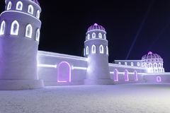 Harbin Ice Festival 2018 - 哈尔滨国际冰雪节 fantastic ice and snow buildings, fun, sledging, night, travel china stock images