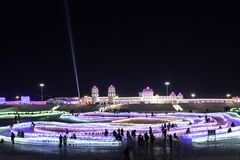 Harbin Ice Festival 2018 - 哈尔滨国际冰雪节 fantastic ice and snow buildings, fun, sledging, night, travel china. The stock photos