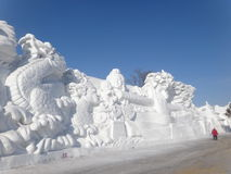 Harbin Ice festival China. Chinas Heilongjiang province.  Snow and Ice Festival. large snow sculpture Royalty Free Stock Image