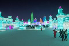 Harbin Ice Festival 2018 - fantastic ice and snow buildings, fun, sledging, night, travel china stock photography