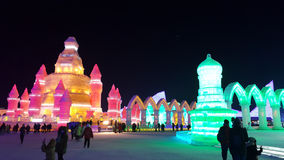 Harbin Ice Festival sculpture. 2016 China stock photos