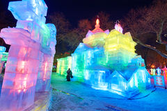 Harbin ice-lantern festival garden party and visitors Royalty Free Stock Image