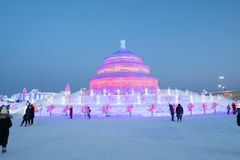 Harbin Ice and snow festival 2018 - ice like glass day sunshine. The world famous Harbin Ice Festival in China, by day the ice blocks look like glass when the stock image