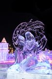 Harbin Ice and snow festival 2018 - ice like glass night sculpture competition. The world famous Harbin Ice Festival in China, by day the ice blocks look like royalty free stock photography