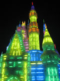 Harbin Ice and Snow World. Some beautiful ice buildings in Harbin China for the Harbin Snow and Ice Festival. The festival runs annually from the end of December Royalty Free Stock Image