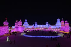 Harbin International Ice and Snow Sculpture Festival 2018. The Harbin International Ice and Snow Sculpture Festival is an annual festival that takes place in Royalty Free Stock Images