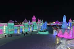 Harbin International Ice and Snow Sculpture Festival 2018. The Harbin International Ice and Snow Sculpture Festival is an annual festival that takes place in Stock Photography