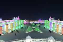 Harbin International Ice and Snow Sculpture Festival 2018. The Harbin International Ice and Snow Sculpture Festival is an annual festival that takes place in Stock Image