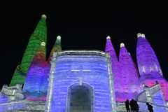 Harbin International Ice and Snow Sculpture Festival 2018. The Harbin International Ice and Snow Sculpture Festival is an annual festival that takes place in Stock Photos