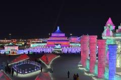 Harbin internationell is och festival 2018 för snöskulptur Royaltyfri Fotografi