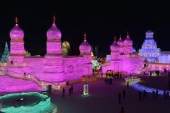 Harbin internationell is och festival 2018 för snöskulptur Arkivfoton