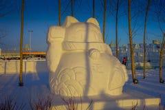 Harbin Kina - Februari 9, 2017: Härliga snöskulpturer i Harbin den internationella isen och festivalen för snöskulptur Arkivbilder