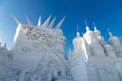 Harbin Kina - Januari 2015: Internationell snöskulptur Art Expo Arkivfoto