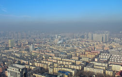 Harbin in smog, China. Residential areas in Harbin in smog, China stock image