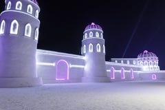Harbin Zamraża festiwal 2018 - å 'ˆå°' æ' ¨å› ½ é™… å † °é› ªèŠ 'lodowi i śnieżni fantastyczni budynki, zabawa, sanna, noc, podró Obrazy Stock