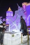 Harbin Zamraża festiwal 2018 - å 'ˆå°' æ' ¨å› ½ é™… å † °é› ªèŠ 'lodowi i śnieżni fantastyczni budynki, zabawa, sanna, noc, podró Zdjęcia Stock