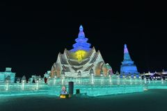 Harbin zawody międzynarodowi Lodowej i Śnieżnej rzeźby festiwal 2018 Obrazy Stock