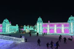 Harbin zawody międzynarodowi Lodowej i Śnieżnej rzeźby festiwal 2018 Fotografia Stock