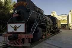 Harbin zhongdong railway museum open air day blue sky steam train. Steam train outdoors at the zhongdong railway museum in harbin, the static exhibition is for stock images