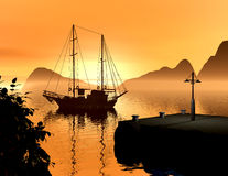 Harbor. A fishing boat arriving from long trip Stock Photography