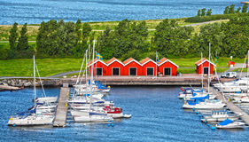 Harbor. Colorful harbor with many boats in Gothenburg, Sweden royalty free stock photos