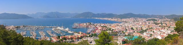 The harbor. Yaht and beaches of Marmaris, Turkey Stock Photo