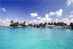 Harbor. Tropical harbor under blue sky, Maldives Stock Image