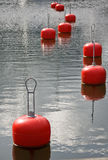 At the harbor. Orange buoys at the harbor Stock Photography