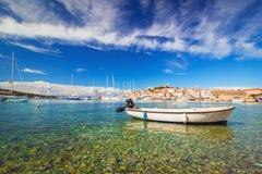 Harbor at Adriatic sea. Primosten, Croatia, popular touristic destination Stock Photos