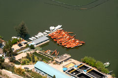 Harbor from aerial in lake,Kunming city,China. Royalty Free Stock Images