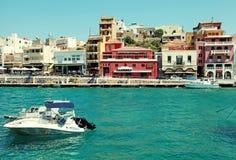 Harbor of Agios Nikolaos, Crete, Greece. Royalty Free Stock Photo