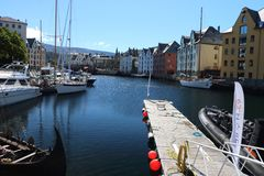 Harbor in Alesund Norway royalty free stock photography