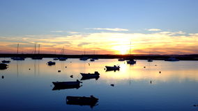 Harbor from Alvor in Portugal at twilight stock video footage