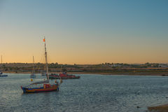 Harbor from Alvor at sunset in Portugal Royalty Free Stock Photos