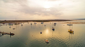 Harbor from Alvor at sunset in Portugal Royalty Free Stock Photo