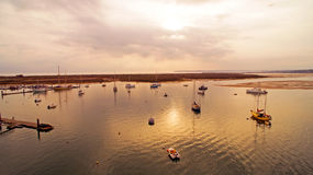 Harbor from Alvor at sunset in Portugal Stock Image