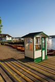 Harbor at Ambleside with an Empty Ticket Counter next to Borrans Park. Overlooking Windermere Lake Stock Images