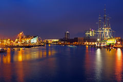 The harbor from Amsterdam in the Netherlands by night Royalty Free Stock Photo