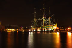 The harbor from Amsterdam in the Netherlands by night Stock Image