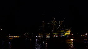 The harbor from Amsterdam in the Netherlands by night stock video