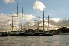 Harbor from Amsterdam Netherlands with traditional. Sailingships Stock Images