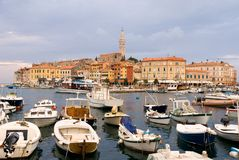 Harbor of ancien town Rovin Royalty Free Stock Images
