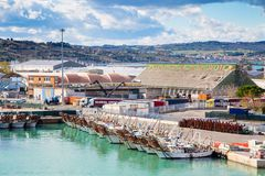 The harbor of Ancona with the boats docked Stock Images