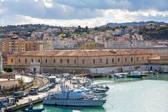 The harbor of Ancona with the boats docked Royalty Free Stock Photo
