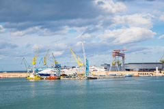 The harbor of Ancona with ships loaded Royalty Free Stock Photo
