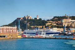 The harbor of Ancona with ships loading Stock Photography