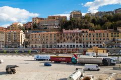 The harbor of Ancona with the trucks ready for boarding to ferry Stock Photos