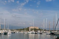 Harbor Antibes with fort carre royalty free stock photo