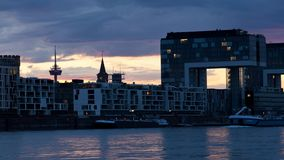 Harbor architecture in Cologne stock footage