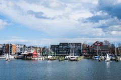 Harbor Area of Annapolis, Maryland on a cloudy spring day with s royalty free stock photos